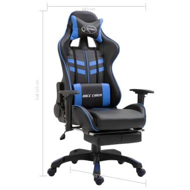 vidaXL Žaidimų kėdė su atrama kojoms, mėlyna, dirbtinė oda[11/11]