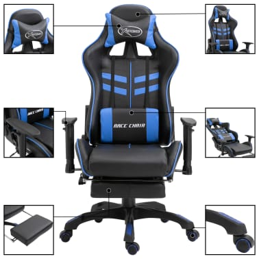 vidaXL Žaidimų kėdė su atrama kojoms, mėlyna, dirbtinė oda[3/11]