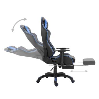 vidaXL Žaidimų kėdė su atrama kojoms, mėlyna, dirbtinė oda[4/11]