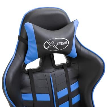 vidaXL Žaidimų kėdė su atrama kojoms, mėlyna, dirbtinė oda[6/11]