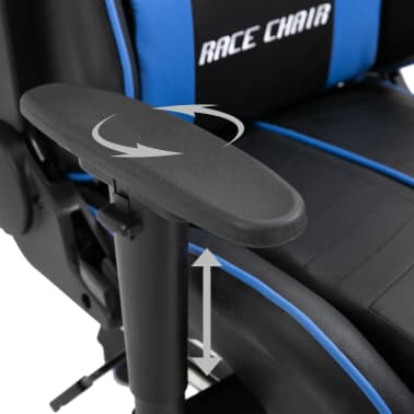 vidaXL Žaidimų kėdė su atrama kojoms, mėlyna, dirbtinė oda[8/11]