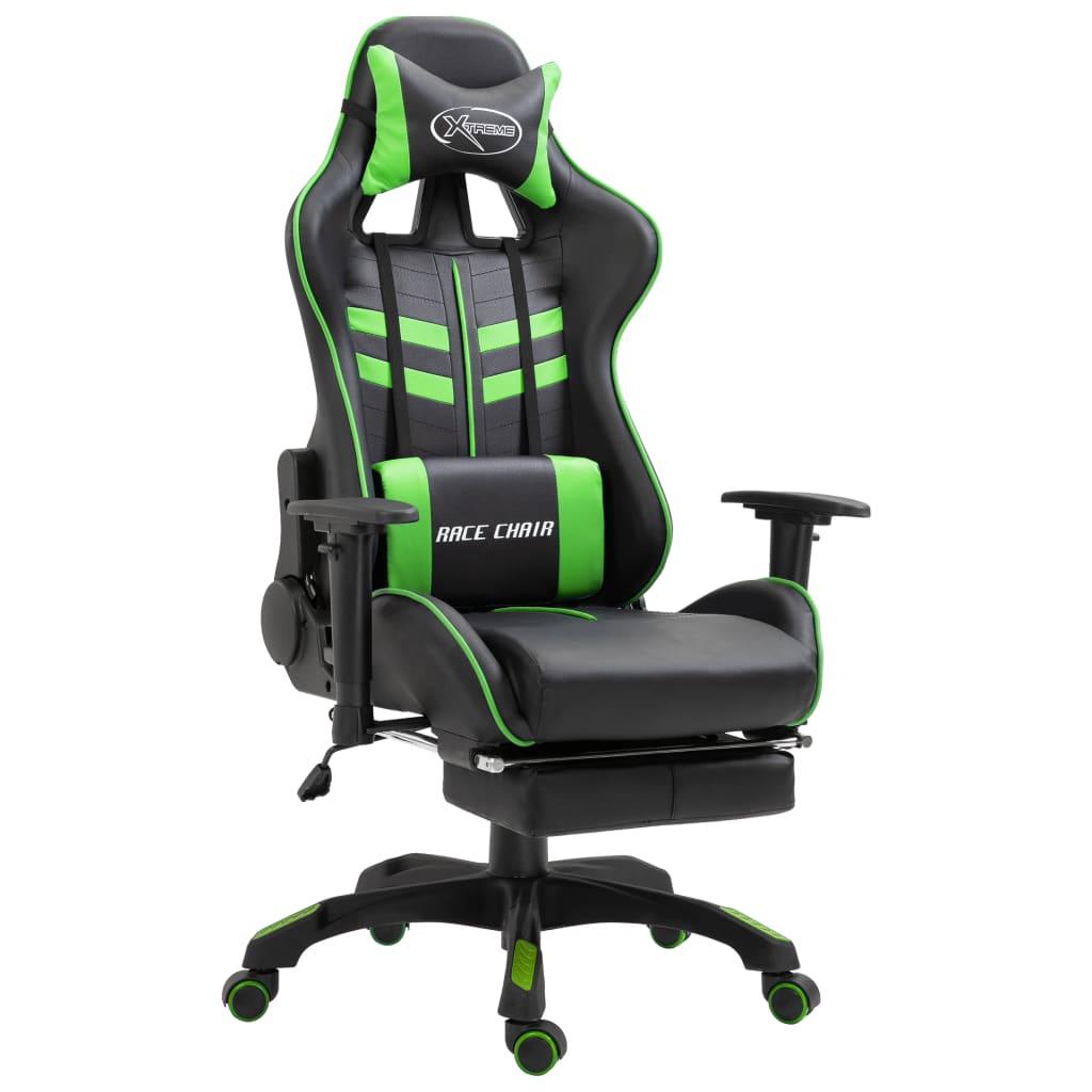 vidaXL Scaun jocuri cu suport picioare, verde, piele ecologică poza vidaxl.ro