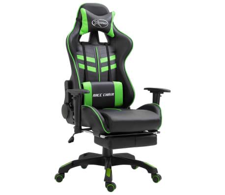vidaXL Геймърски стол с подложка за крака, зелено, изкуствена кожа