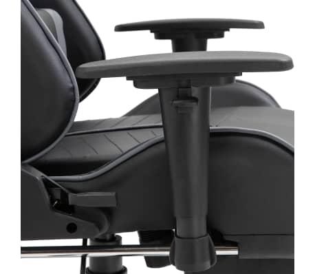vidaXL gamingstol med fodstøtte kunstlæder grå[9/11]