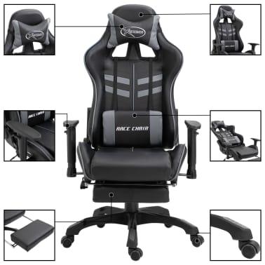 vidaXL gamingstol med fodstøtte kunstlæder grå[3/11]