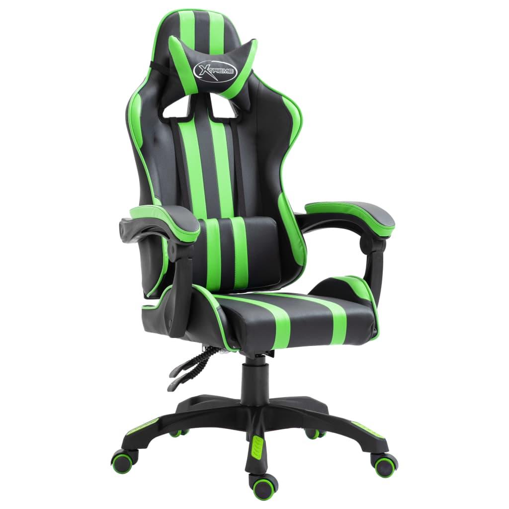 vidaXL Scaun pentru jocuri, verde, piele ecologică poza vidaxl.ro