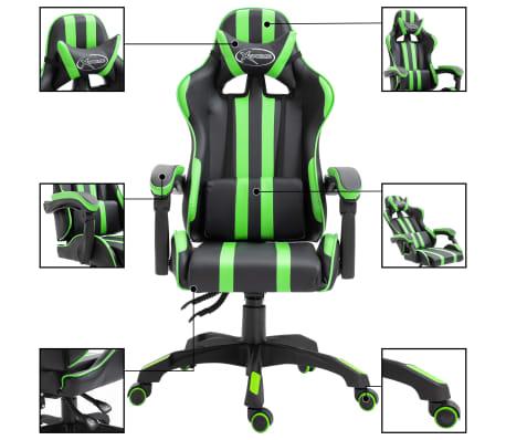 vidaXL Žaidimų kėdė, žalios spalvos, dirbtinė oda[2/9]