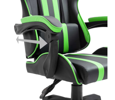 vidaXL Žaidimų kėdė, žalios spalvos, dirbtinė oda[7/9]