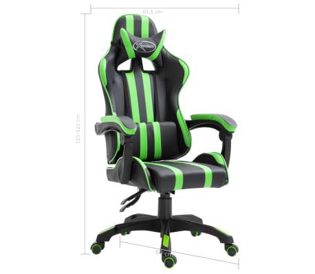 vidaXL Žaidimų kėdė, žalios spalvos, dirbtinė oda[9/9]