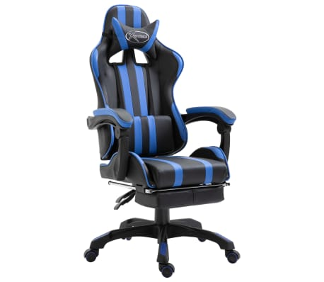 vidaXL Herní židle s podnožkou modrá umělá kůže