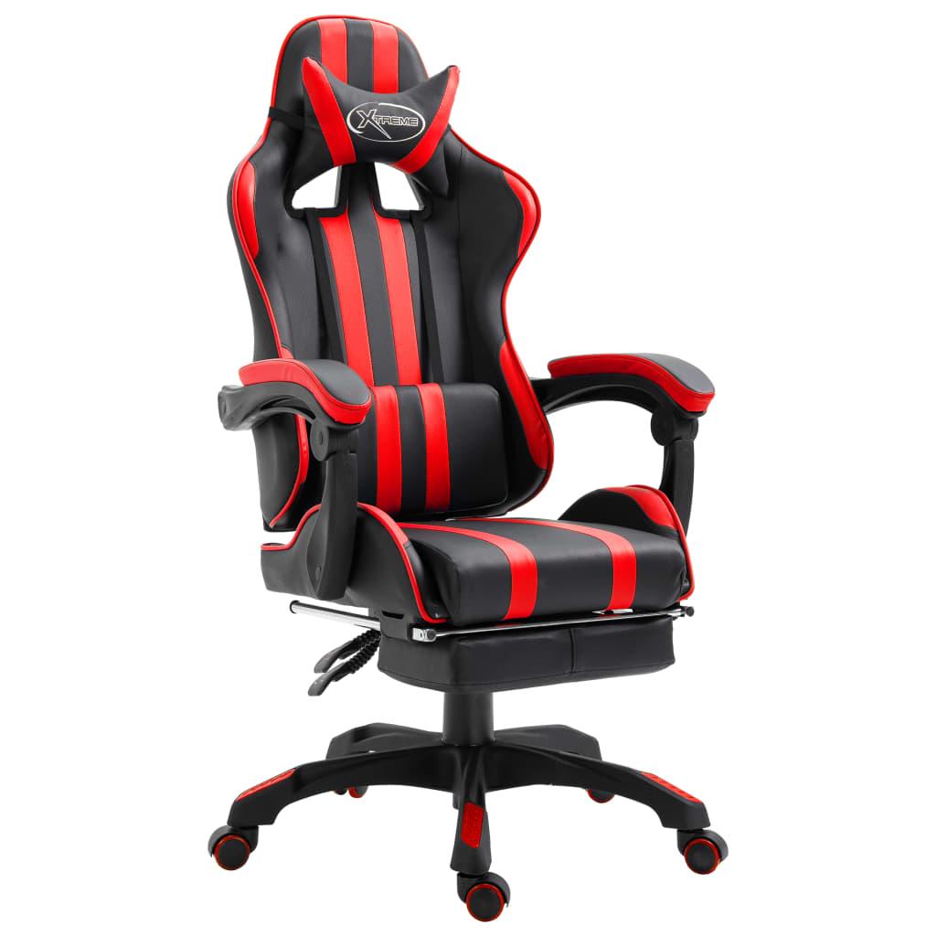 vidaXL Scaun pentru jocuri cu suport picioare, roșu, piele ecologică poza vidaxl.ro