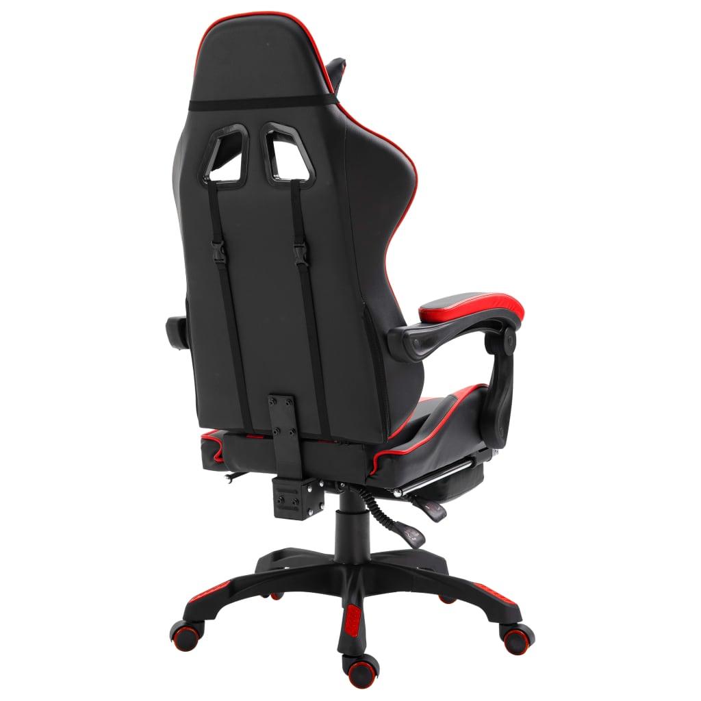 Herní židle s podnožkou červená umělá kůže