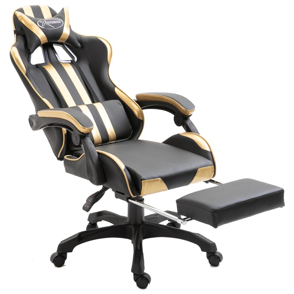 Herní židle s podnožkou zlatá umělá kůže