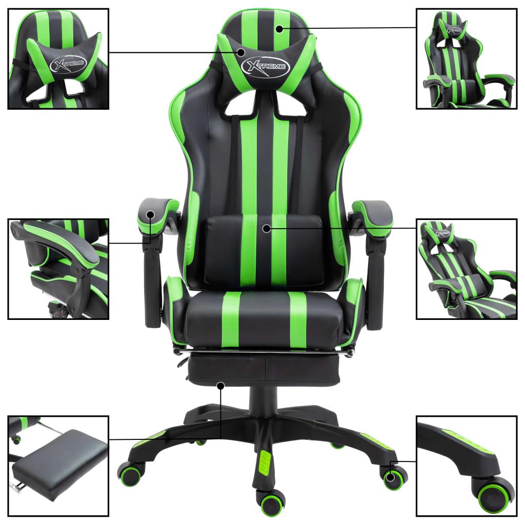 Herní židle s podnožkou zelená umělá kůže