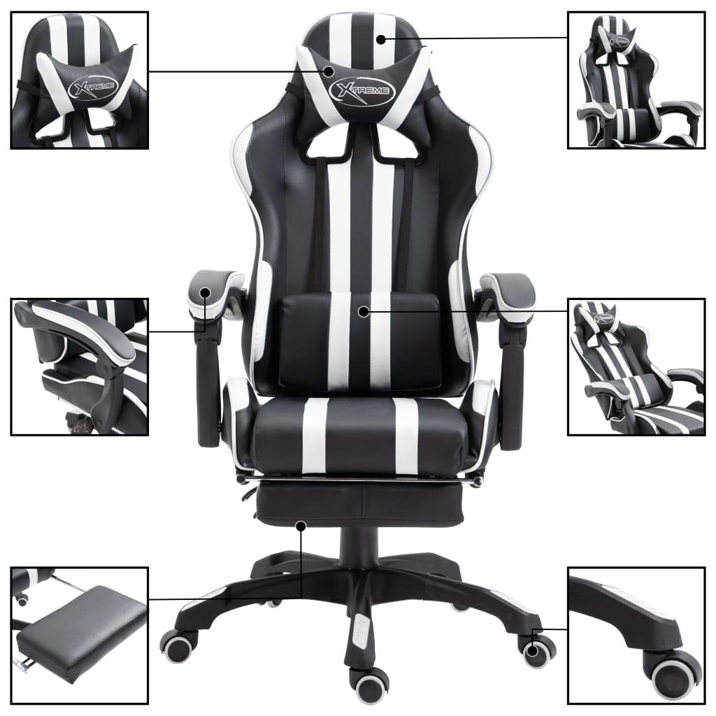 Herní židle s podnožkou bílá umělá kůže