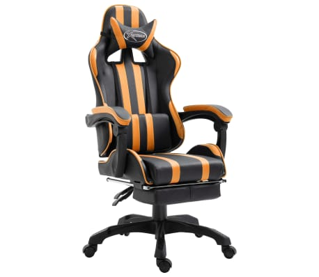 vidaXL Gamingstol med fotstöd orange konstläder