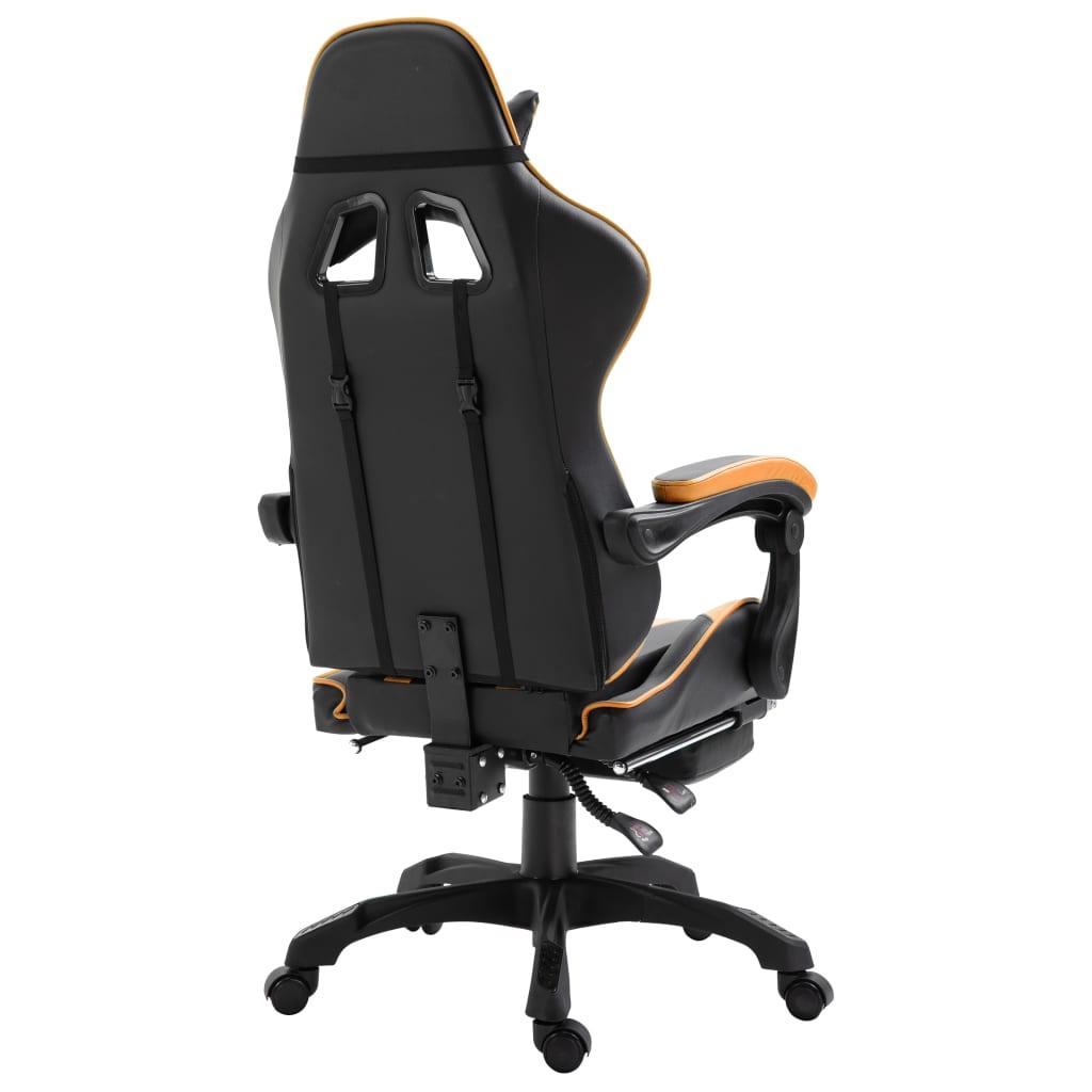 Herní židle s podnožkou oranžová umělá kůže