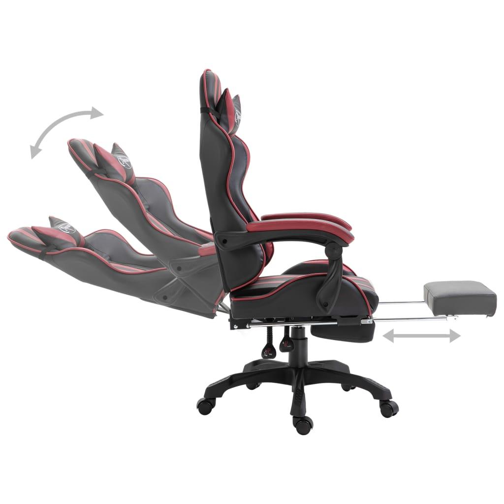 Herní židle s podnožkou vínová umělá kůže