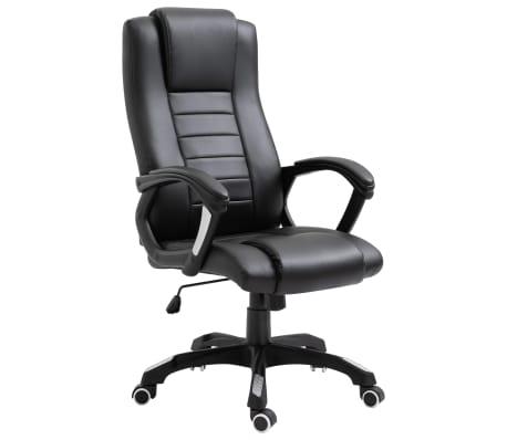 vidaXL Chaise de bureau Noir Similicuir[1/9]