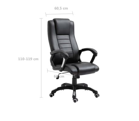vidaXL Chaise de bureau Noir Similicuir[9/9]