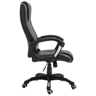 vidaXL Chaise de bureau Noir Similicuir[4/9]