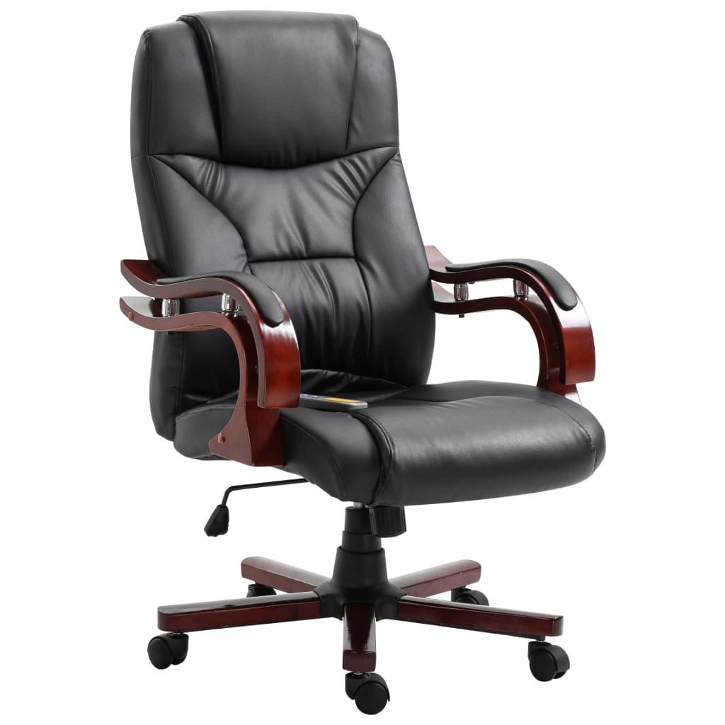 vidaXL Scaun de birou, negru, piele ecologică vidaxl.ro