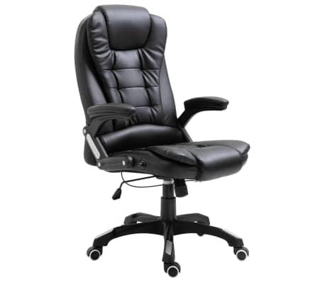 vidaXL Chaise de bureau Noir Similicuir[1/10]