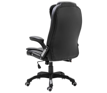 vidaXL Chaise de bureau Noir Similicuir[3/10]