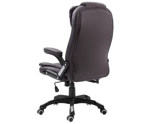 vidaXL Chaise de bureau Marron Similicuir[3/9]