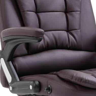 vidaXL Chaise de bureau Marron Similicuir[7/9]