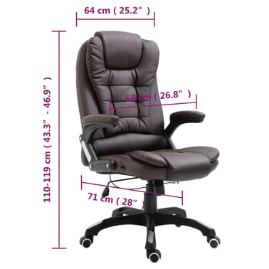vidaXL Chaise de bureau Marron Similicuir[9/9]