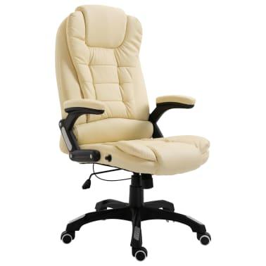 vidaXL Krzesło biurowe, kremowe, sztuczna skóra[1/9]
