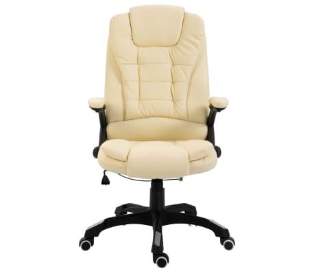 vidaXL Krzesło biurowe, kremowe, sztuczna skóra[2/9]