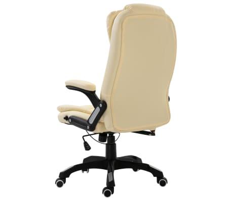 vidaXL Krzesło biurowe, kremowe, sztuczna skóra[3/9]