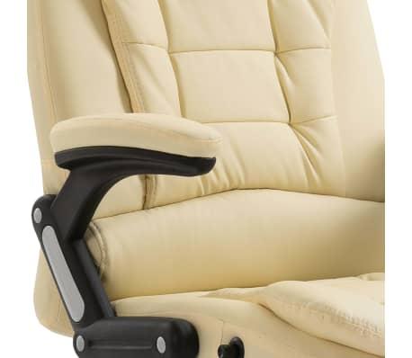 vidaXL Krzesło biurowe, kremowe, sztuczna skóra[7/9]