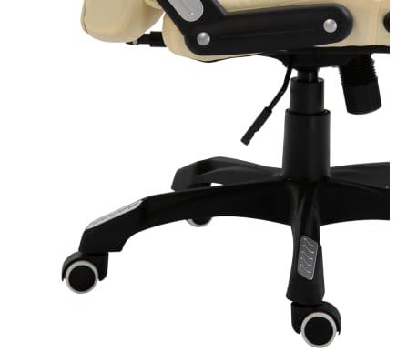 vidaXL Krzesło biurowe, kremowe, sztuczna skóra[8/9]