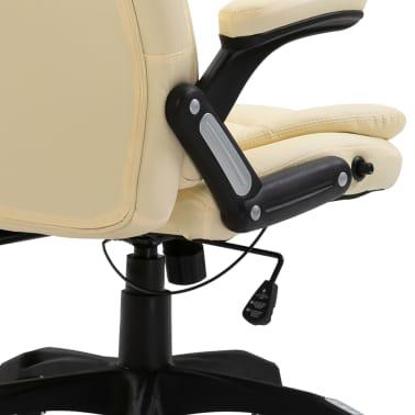vidaXL Krzesło biurowe, kremowe, sztuczna skóra[6/9]