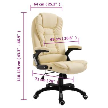 vidaXL Krzesło biurowe, kremowe, sztuczna skóra[9/9]