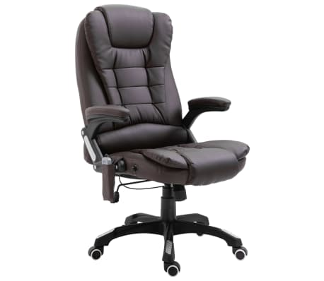 vidaXL Masažinė biuro kėdė, ruda, dirbtinė oda