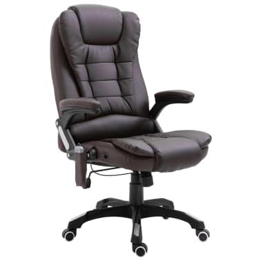 vidaXL Chaise de bureau de massage Marron Similicuir[1/11]