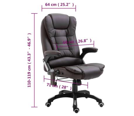 vidaXL Masažinė biuro kėdė, ruda, dirbtinė oda[11/11]