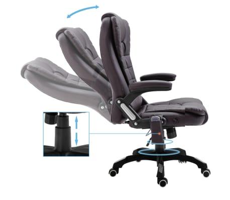 vidaXL Masažinė biuro kėdė, ruda, dirbtinė oda[6/11]