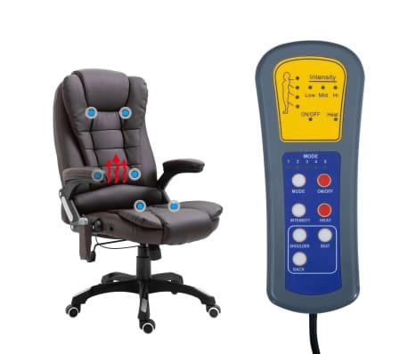 vidaXL Chaise de bureau de massage Marron Similicuir[7/11]