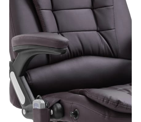 vidaXL Masažinė biuro kėdė, ruda, dirbtinė oda[9/11]