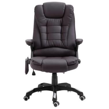 vidaXL Chaise de bureau de massage Marron Similicuir[2/11]