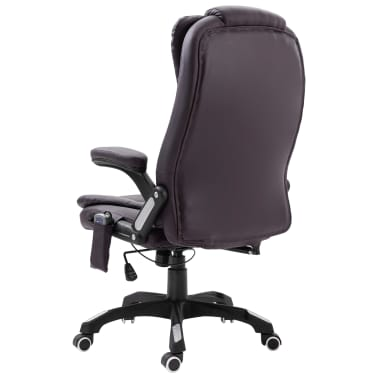 vidaXL Masažinė biuro kėdė, ruda, dirbtinė oda[3/11]