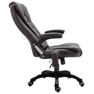 vidaXL Masažinė biuro kėdė, ruda, dirbtinė oda[5/11]