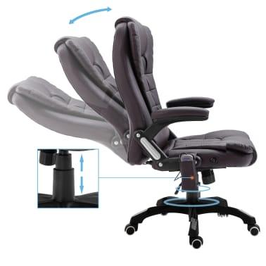vidaXL Chaise de bureau de massage Marron Similicuir[6/11]