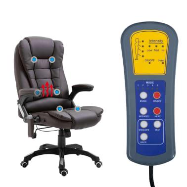 vidaXL Masažinė biuro kėdė, ruda, dirbtinė oda[7/11]