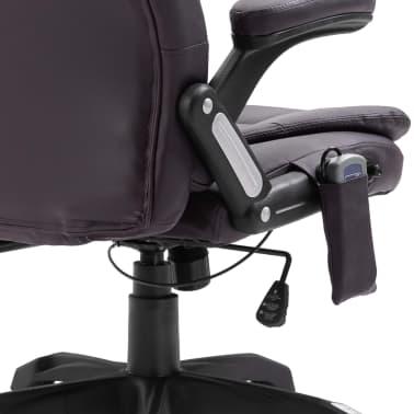 vidaXL Masažinė biuro kėdė, ruda, dirbtinė oda[8/11]